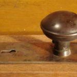 Simple gilt-and-satin knob/plate set side view 201-6245-4-2